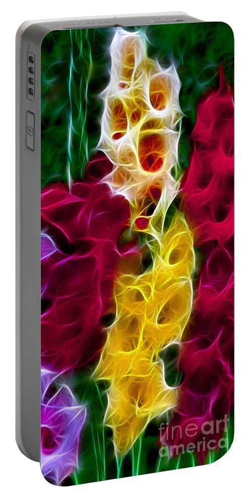 Gladiola Portable Battery Charger featuring the digital art Cluster Of Gladiolas Fractal by Peter Piatt