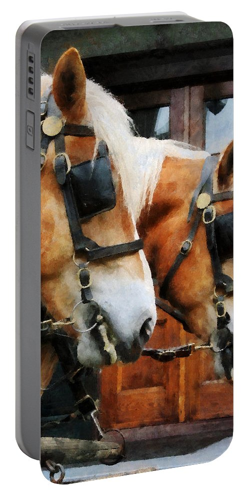 Horse Portable Battery Charger featuring the photograph Clydesdale Closeup by Susan Savad