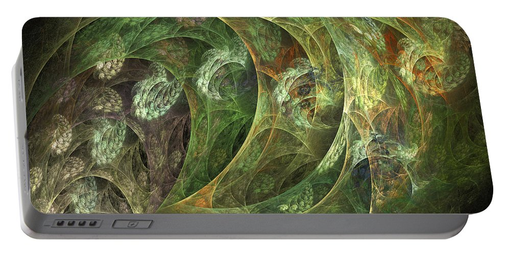 Fractal Portable Battery Charger featuring the digital art Coastal Breeze by Betsy Knapp