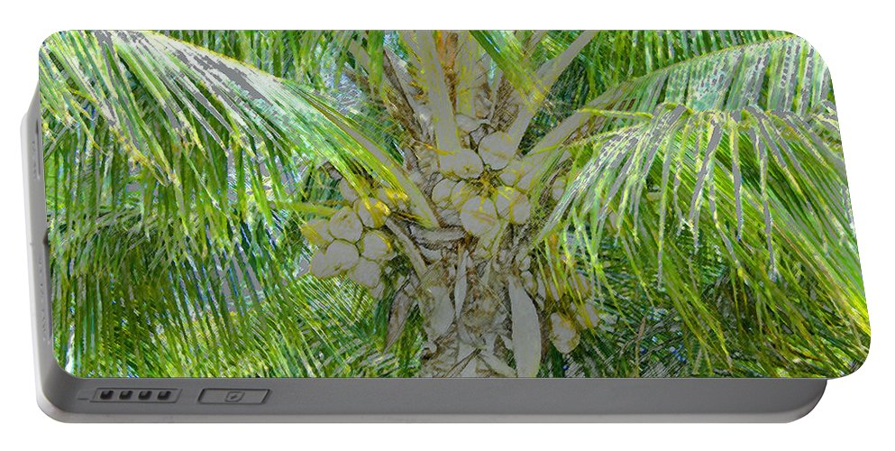 Coconut Palm Portable Battery Charger featuring the painting Coconut Palm by David Lee Thompson