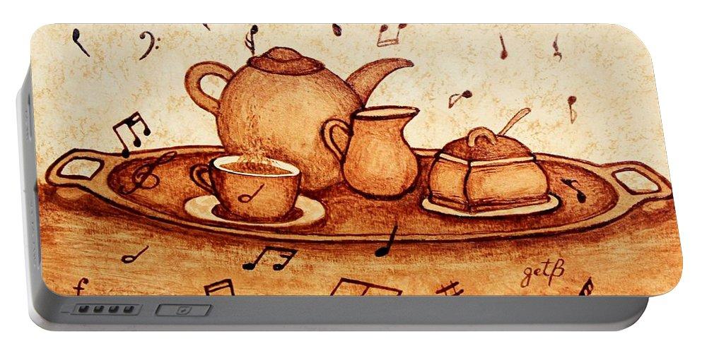 Coffee Break Portable Battery Charger featuring the painting Coffee Break 2 Coffee Painting by Georgeta Blanaru