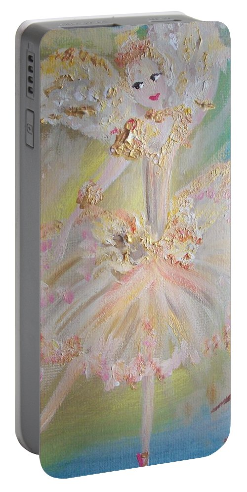 Coffee Portable Battery Charger featuring the painting Coffee Fairy by Judith Desrosiers