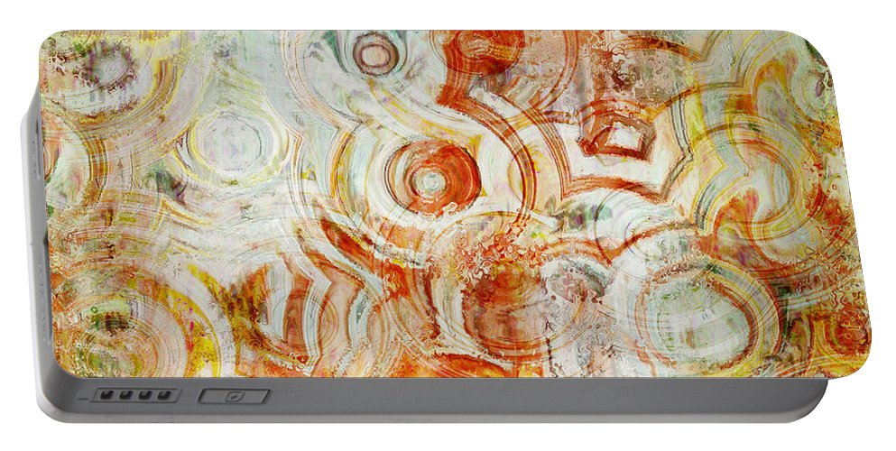 Abstract Portable Battery Charger featuring the digital art Coffee Rings Abstract by Debbie Portwood