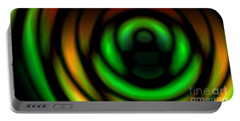 Gradient Portable Battery Charger featuring the digital art Coiled Gradient by Ron Bissett