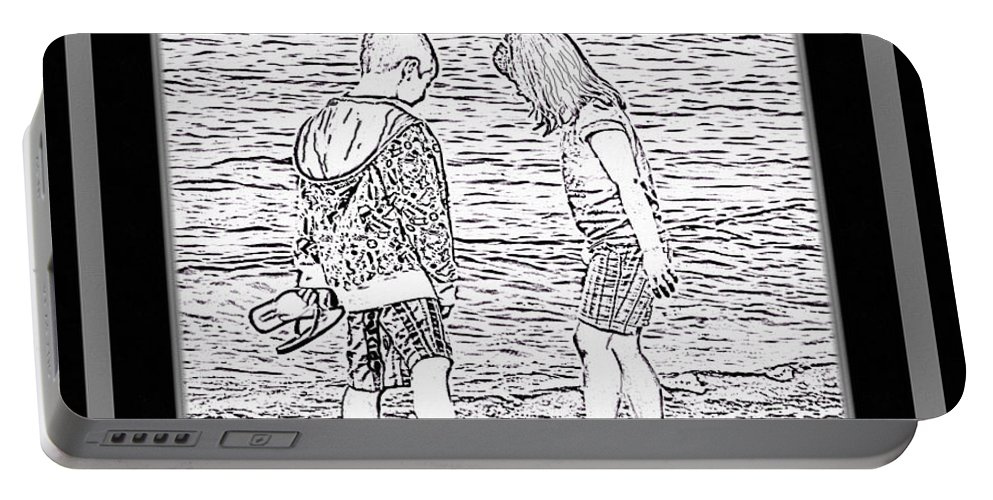 Sketch Portable Battery Charger featuring the photograph Collecting Seashells By The Seashore by Barbara Griffin