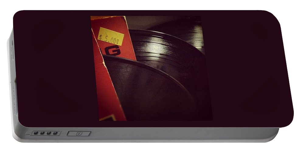 Record Collection Music Recording Disk Vintage Vynyl Classic Portable Battery Charger featuring the photograph Collection by Gabe Arroyo