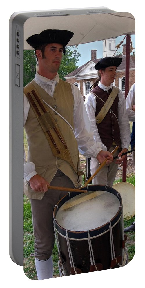 Young Man Playing Drum Portable Battery Charger featuring the photograph Colonial Drummer by Sally Weigand