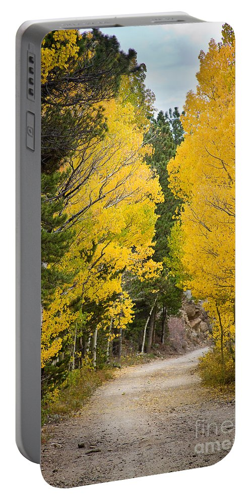 Colorful Portable Battery Charger featuring the photograph Colorado Rocky Mountain Aspen Road Portrait by James BO Insogna