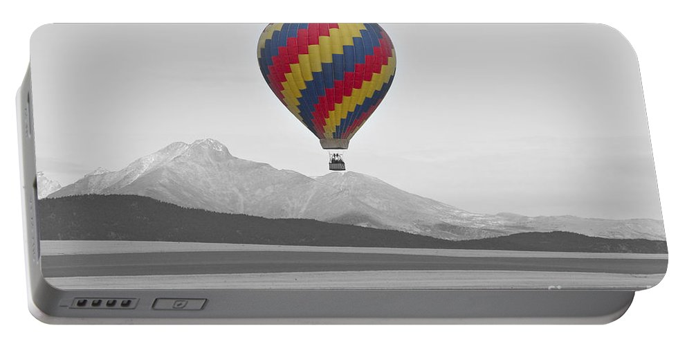 'hot Air Balloon' Portable Battery Charger featuring the photograph Colorful Hot Air Balloon And Longs Peak by James BO Insogna