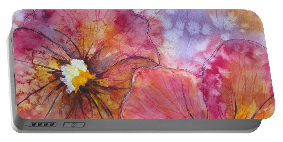 Pansies Portable Battery Charger featuring the painting Colorful Pansies by Corynne Hilbert