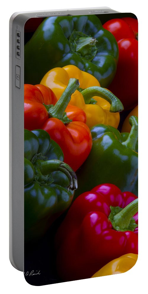 Fine Art Portable Battery Charger featuring the photograph Colorful Peppers by Frederic A Reinecke