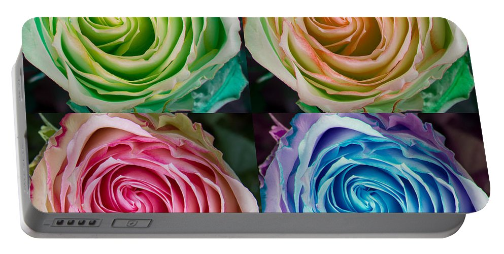 Rose Portable Battery Charger featuring the photograph Colorful Rose Spirals by James BO Insogna