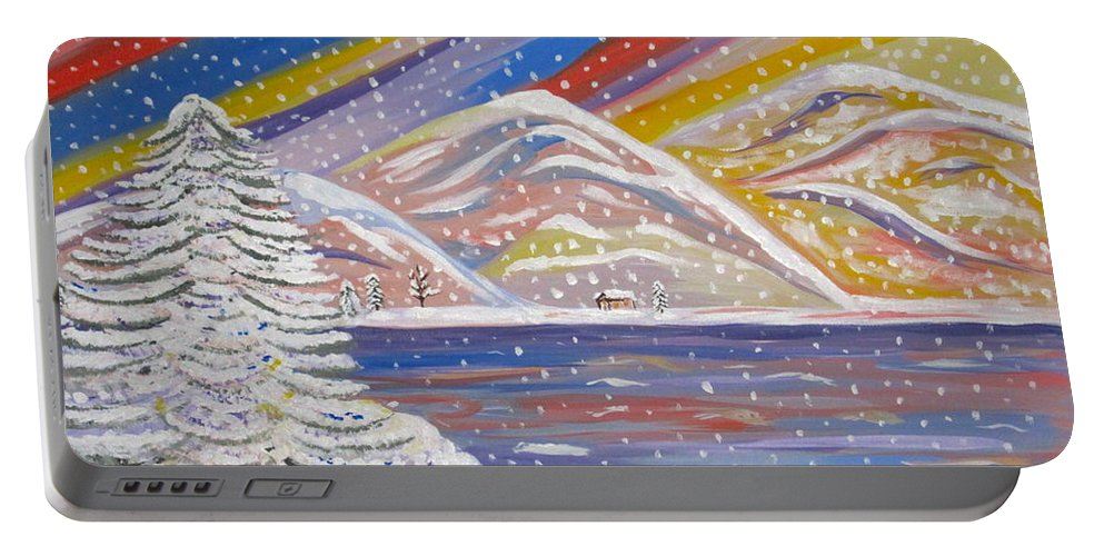 Lots Of Snow Portable Battery Charger featuring the painting Colorful Snow by Phyllis Kaltenbach