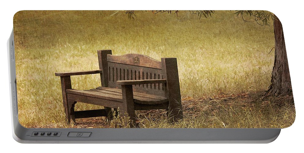 Bench Portable Battery Charger featuring the photograph Come And Sit A Spell by Kim Hojnacki