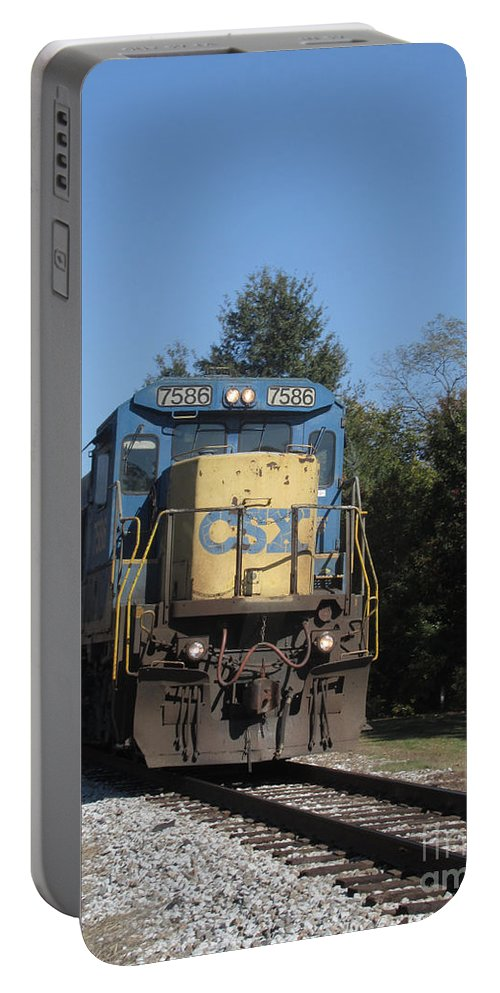Train Portable Battery Charger featuring the photograph Coming Down The Track by Donna Brown