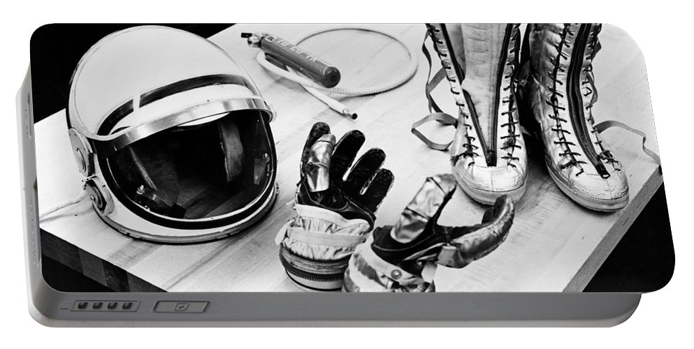 Display Portable Battery Charger featuring the photograph Components Of The Mercury Spacesuit by Stocktrek Images