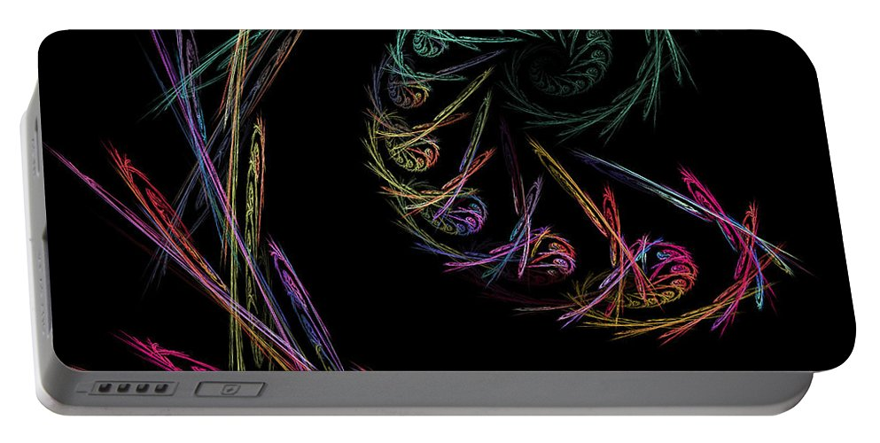 Power Portable Battery Charger featuring the digital art Computer Generated Abstract Fractal Flame Black Modern Art by Keith Webber Jr