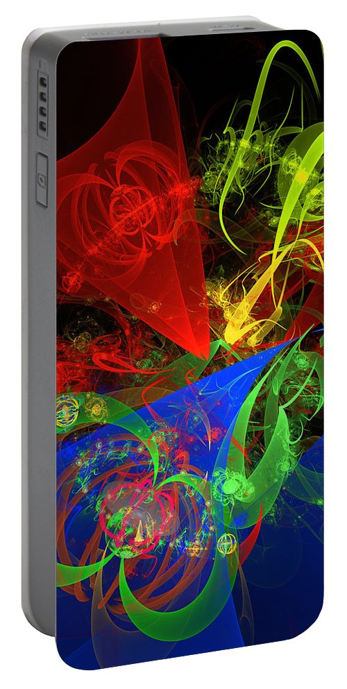 Red Portable Battery Charger featuring the digital art Computer Generated Blue Red Green Abstract Fractal Flame Modern Art by Keith Webber Jr