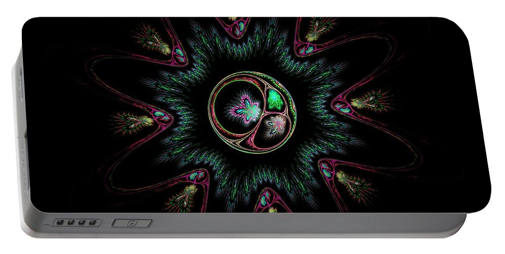 Sphere Portable Battery Charger featuring the digital art Computer Generated Flower Abstract Fractal Flame Modern Art by Keith Webber Jr
