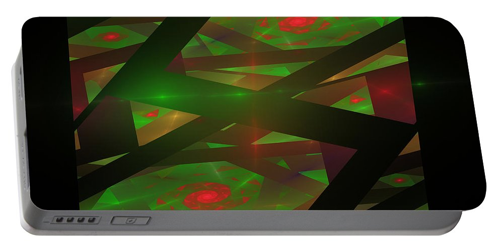 Green Portable Battery Charger featuring the digital art Computer Generated Green Triangles Abstract Fractal Flame Abstract Art by Keith Webber Jr
