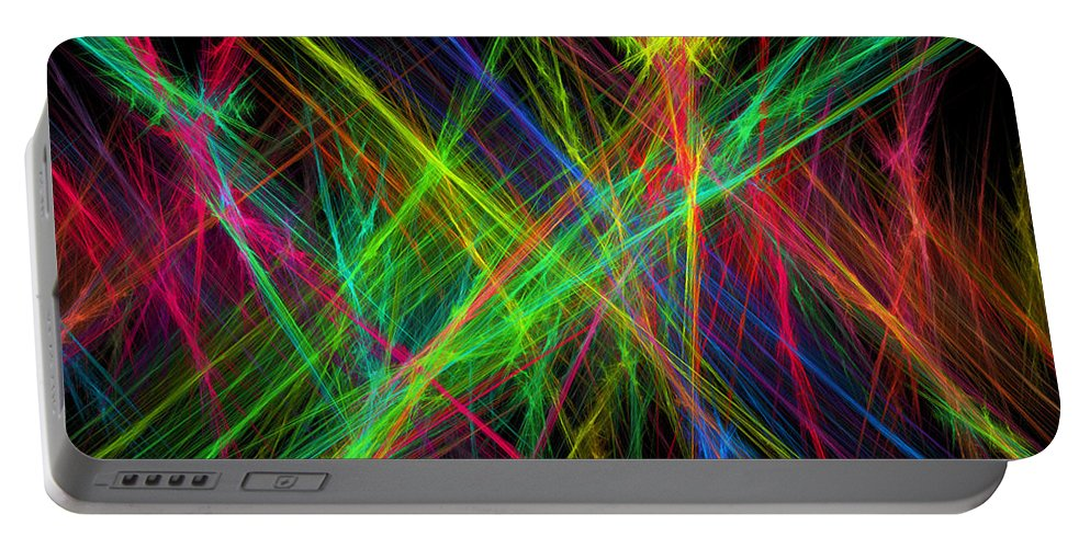 Power Portable Battery Charger featuring the digital art Computer Generated Lines Abstract Fractal Flame Black Background by Keith Webber Jr
