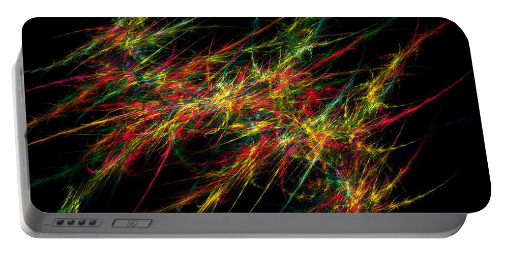 Red Portable Battery Charger featuring the digital art Computer Generated Red Green Abstract Fractal Flame Black Background by Keith Webber Jr