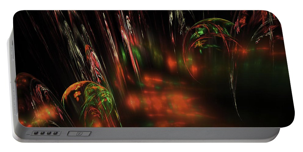 Red Portable Battery Charger featuring the digital art Computer Generated Red Green Abstract Fractal Flame Modern Art by Keith Webber Jr