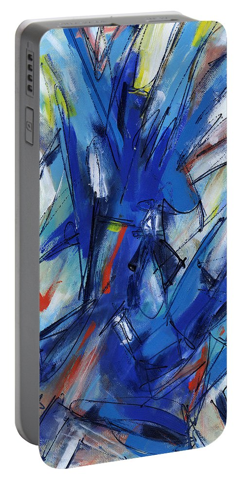 Contemporary Portable Battery Charger featuring the painting Contemporary Painting Six by Lynne Taetzsch