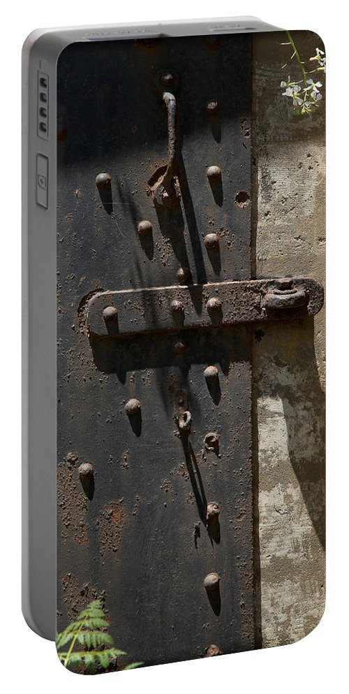 Steel Door Portable Battery Charger featuring the photograph Contents Unknown by Kelley King