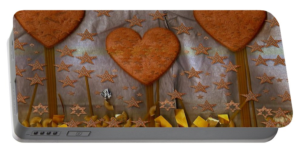 Cookie Portable Battery Charger featuring the mixed media Cookie Trees by Pepita Selles