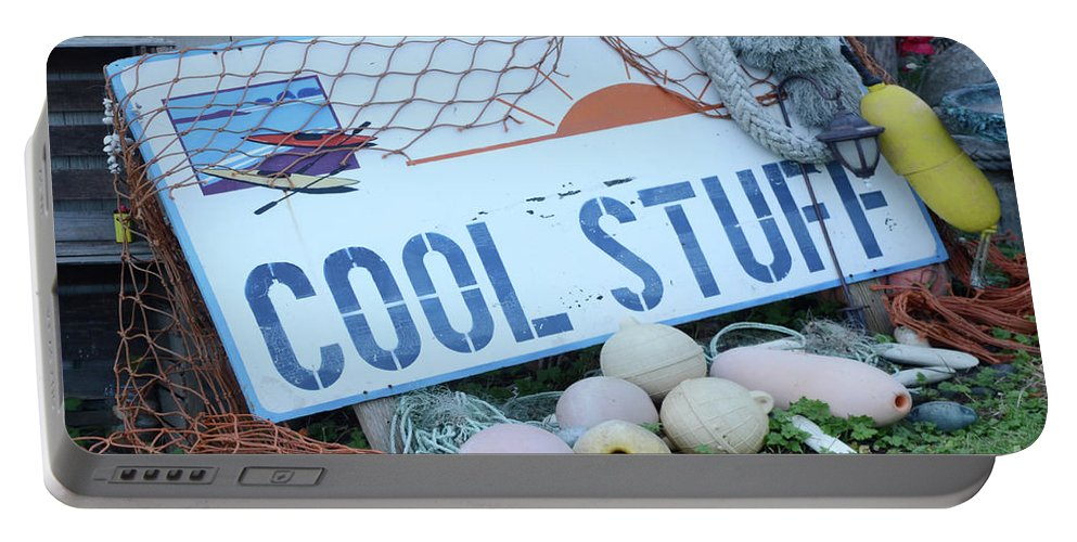 Sign Portable Battery Charger featuring the photograph Cool Stuff by Bob Christopher