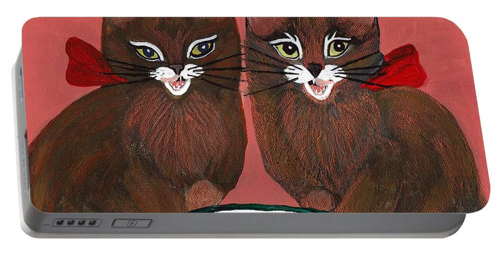 Animals Portable Battery Charger featuring the painting Copper Kitty by LeeAnn McLaneGoetz McLaneGoetzStudioLLCcom