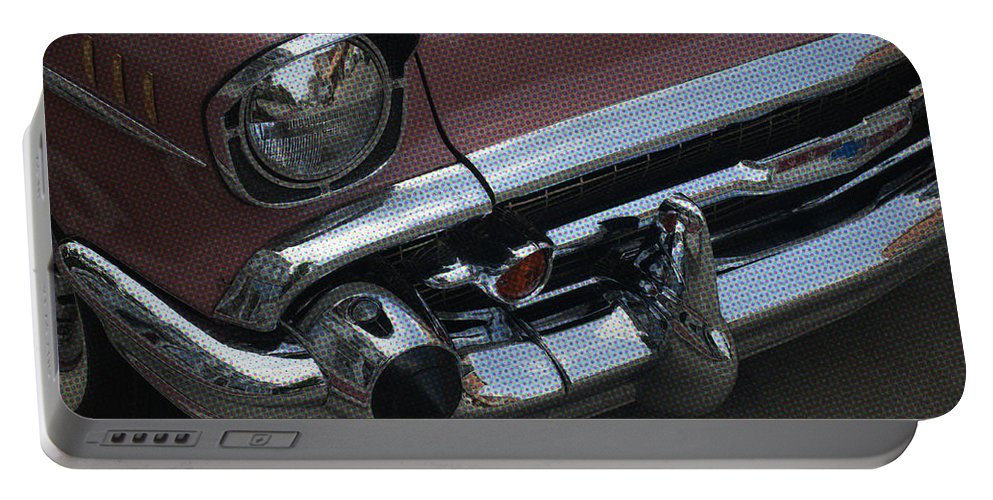 Chevy Portable Battery Charger featuring the photograph Coral Chevy Halftone by Tim Nyberg