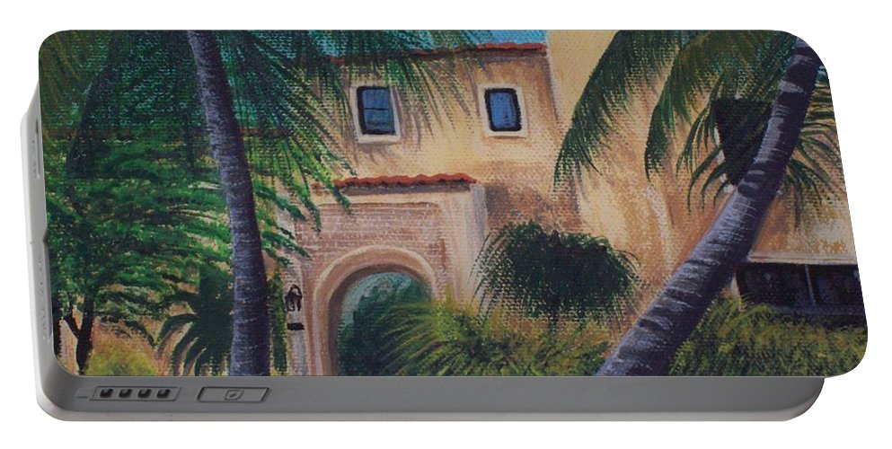 City Scape Houses Portable Battery Charger featuring the painting Coral Gables by Dag Monrabal