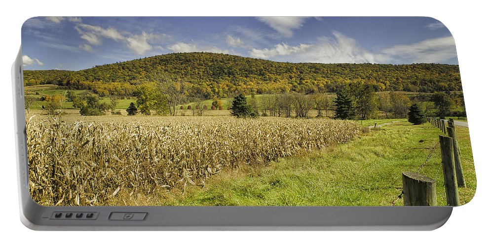 Landscape Portable Battery Charger featuring the photograph Cornfield by Fran Gallogly