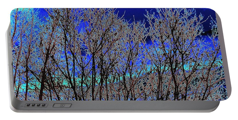 Abstract Portable Battery Charger featuring the digital art Cottonwood Line Up by Will Borden