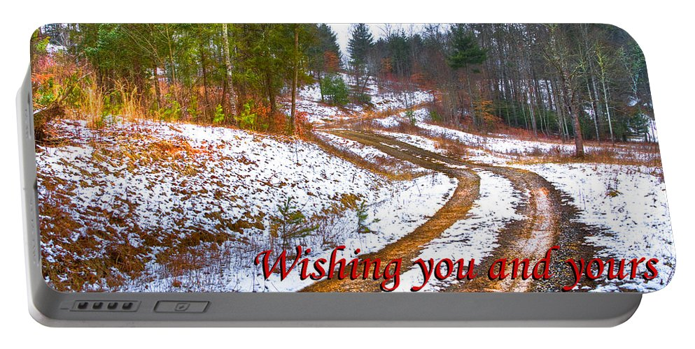 Apalachia Portable Battery Charger featuring the photograph Country Lane Holiday Card by Debra and Dave Vanderlaan