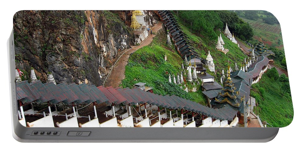Hsaungdan Portable Battery Charger featuring the photograph Covered Stairway To The Pindaya Caves by RicardMN Photography