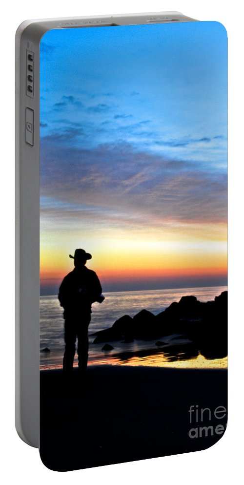 Jersey Shore Portable Battery Charger featuring the digital art Cowboy Sunrise by Danielle Summa