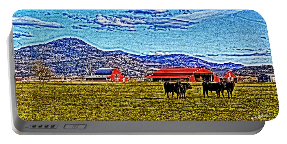 Hdr Portable Battery Charger featuring the photograph Cows Pasture Barns Superspecialeffect by Mick Anderson