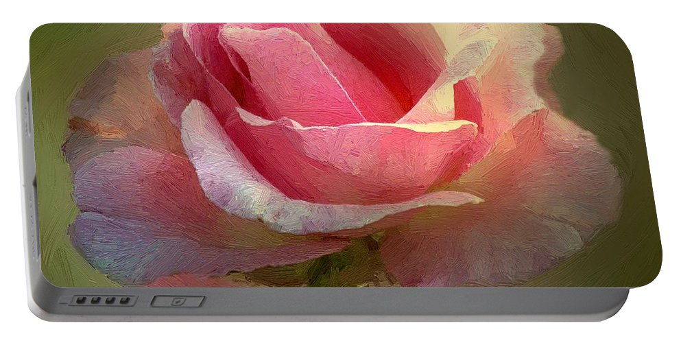 Rose Portable Battery Charger featuring the painting Coy Blush by RC DeWinter