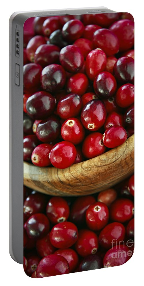 Cranberry Portable Battery Charger featuring the photograph Cranberries In A Bowl by Elena Elisseeva