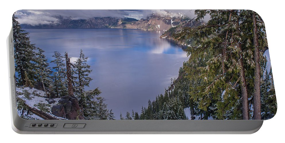 Crater Lake Portable Battery Charger featuring the photograph Crater Lake And Approaching Clouds by Greg Nyquist