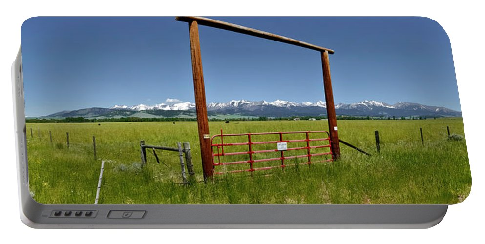 Americas Portable Battery Charger featuring the photograph Crazy Mountain Ranch Gate by Roderick Bley