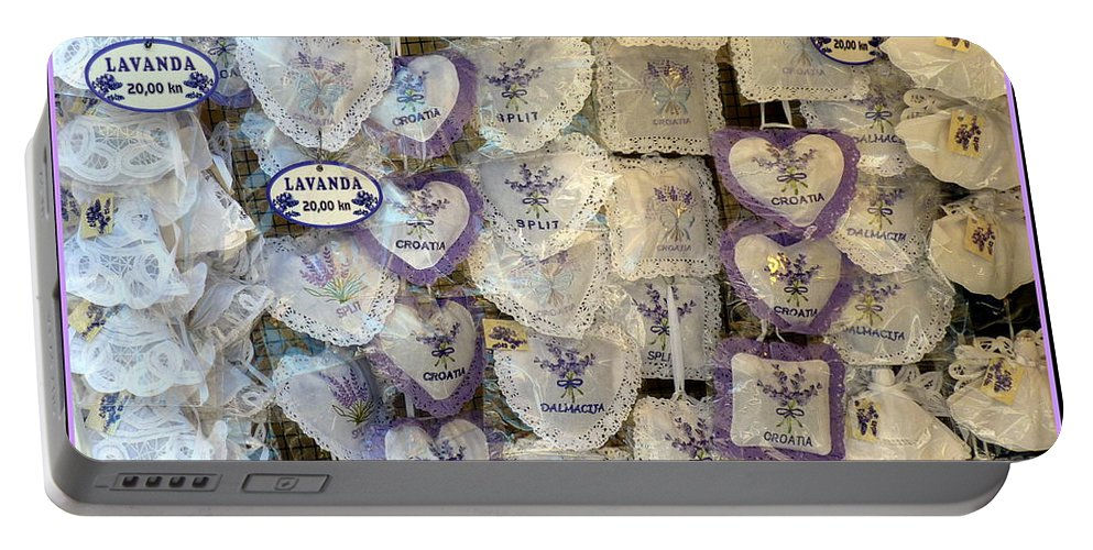 Lavender Portable Battery Charger featuring the photograph Croatian Lavender by Carla Parris
