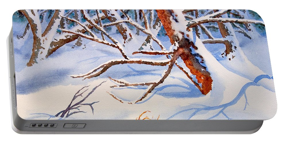 Tree Portable Battery Charger featuring the painting Cross Country by Mohamed Hirji