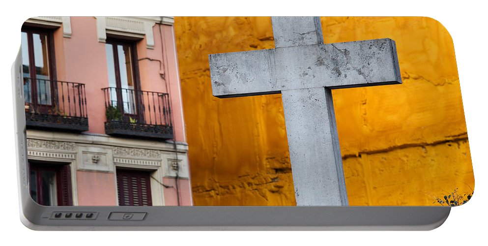 Cross Portable Battery Charger featuring the photograph Cross In The City Of Madrid by Artur Bogacki
