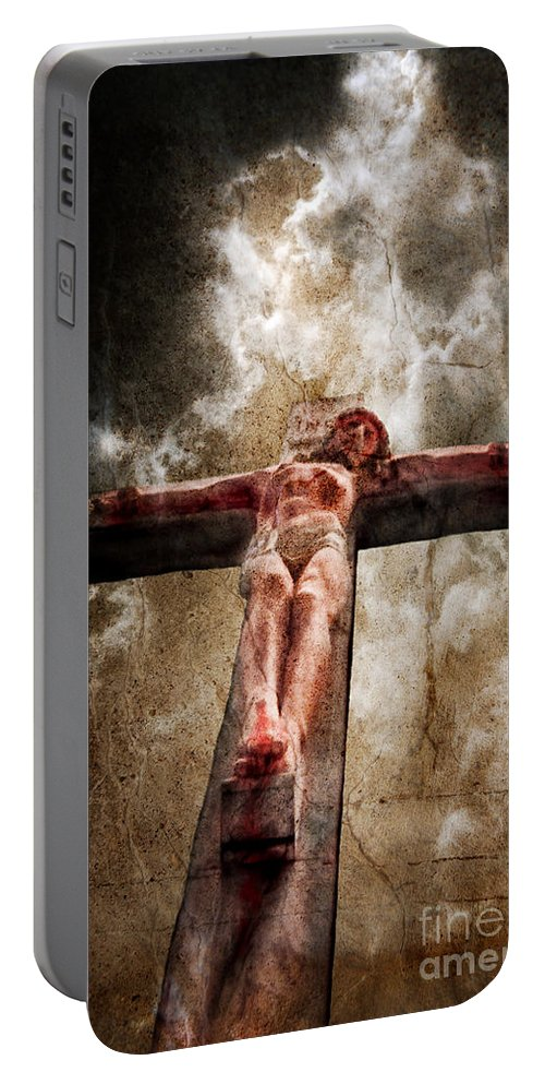 Dramatic Clouds Portable Battery Charger featuring the photograph Crucifixion by Jill Battaglia