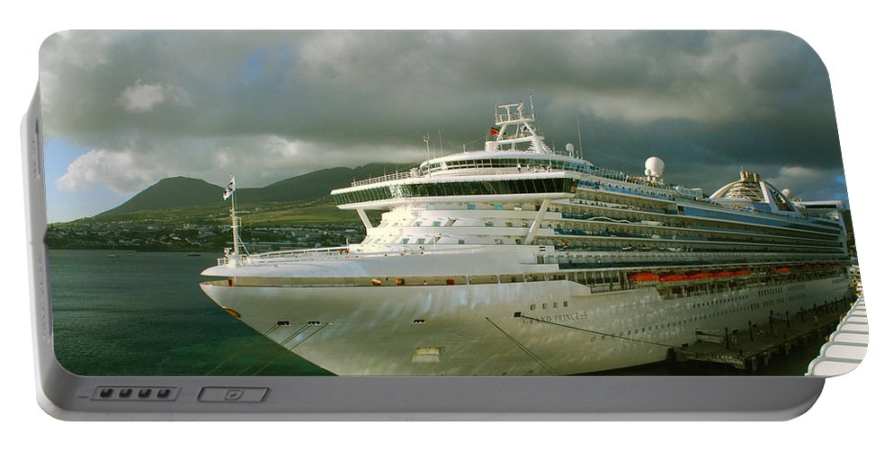 Grand Princess Portable Battery Charger featuring the photograph Cruise Ship In Port by Gary Wonning