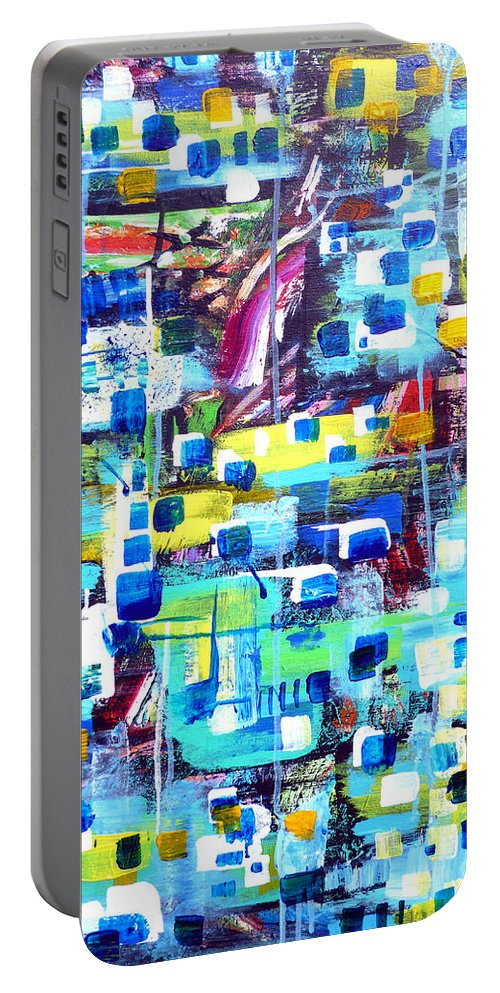 Acrylic Portable Battery Charger featuring the painting Cubic Animation by Larry Calabrese